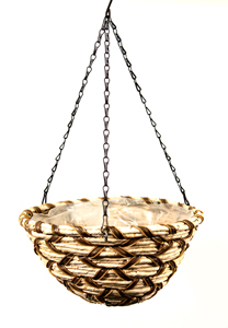 Supermoss Round Wood Woven Hanging Basket Natural 14 Snowbird
